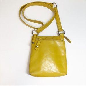 Hobo Yellow Crossbody Bag w/ Outside Zip Pockets